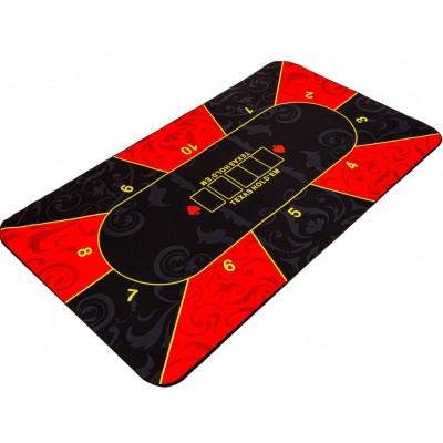 Skladacia pokerová podložka, červená/čierna, 160 x 80 cm