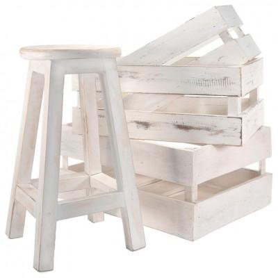 DIVERO sada vintage- stolička a 3 ks prepraviek, biele drevo