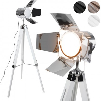 JAGO stojaca lampa s drevenou trojnožkou- biela matná