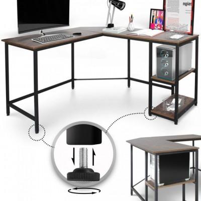 MIADOMODO Písací stôl 138 x 138 x 76 cm, hnedá/čierna