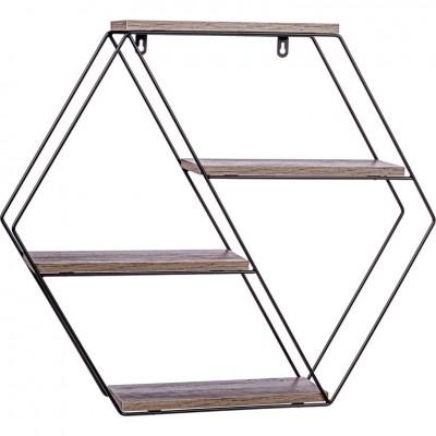 STILISTA Nástenná šesťhranná polica, tm. drevo, 51x58x11 cm